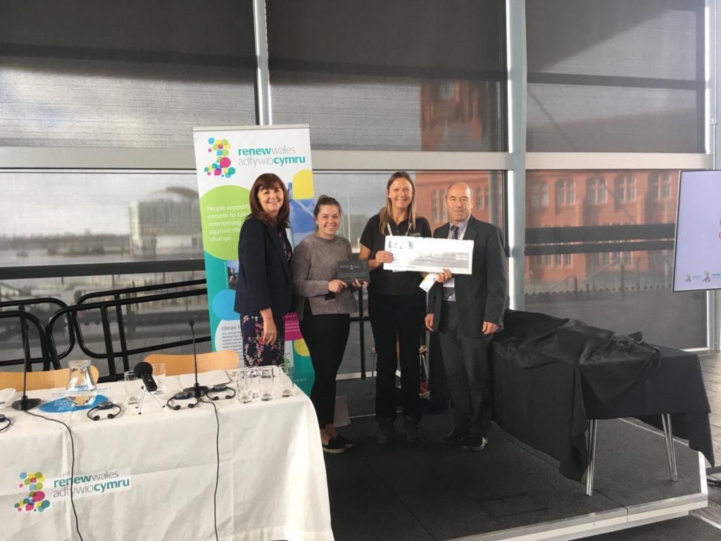 Incredible Edible Carmarthenshire receives their award at the Senedd