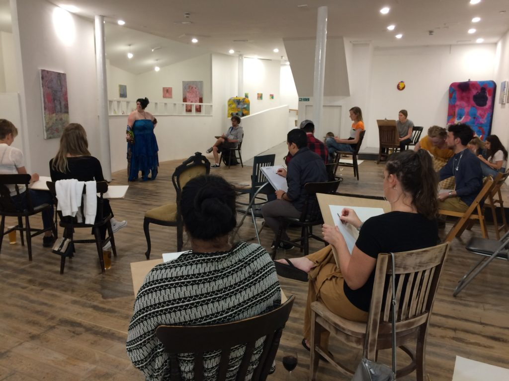 Life drawing session at the gallery.